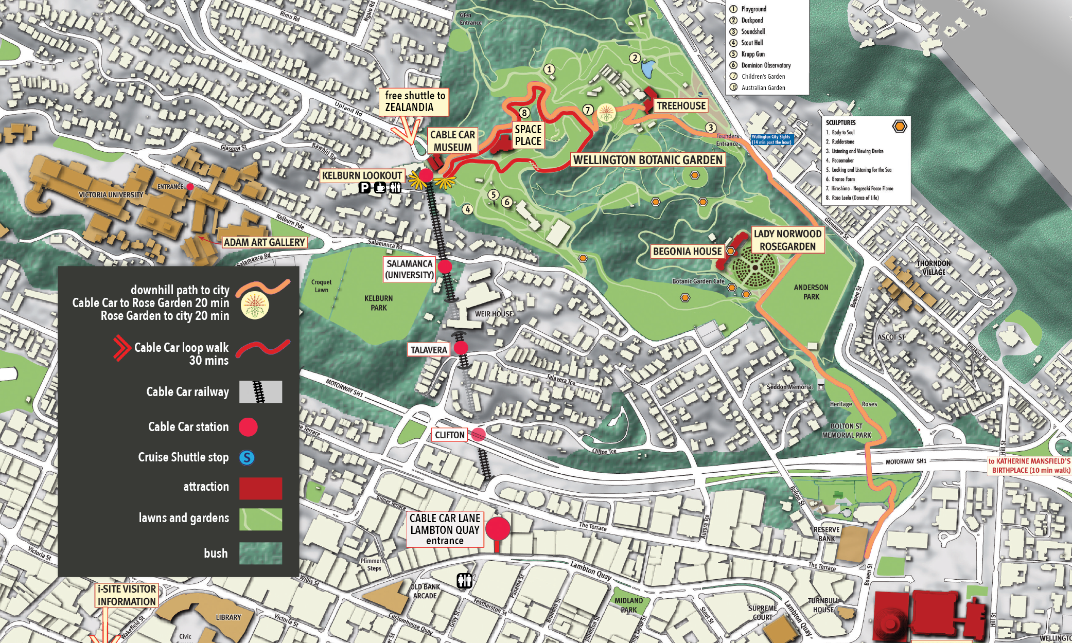Cable Car Attractions Map